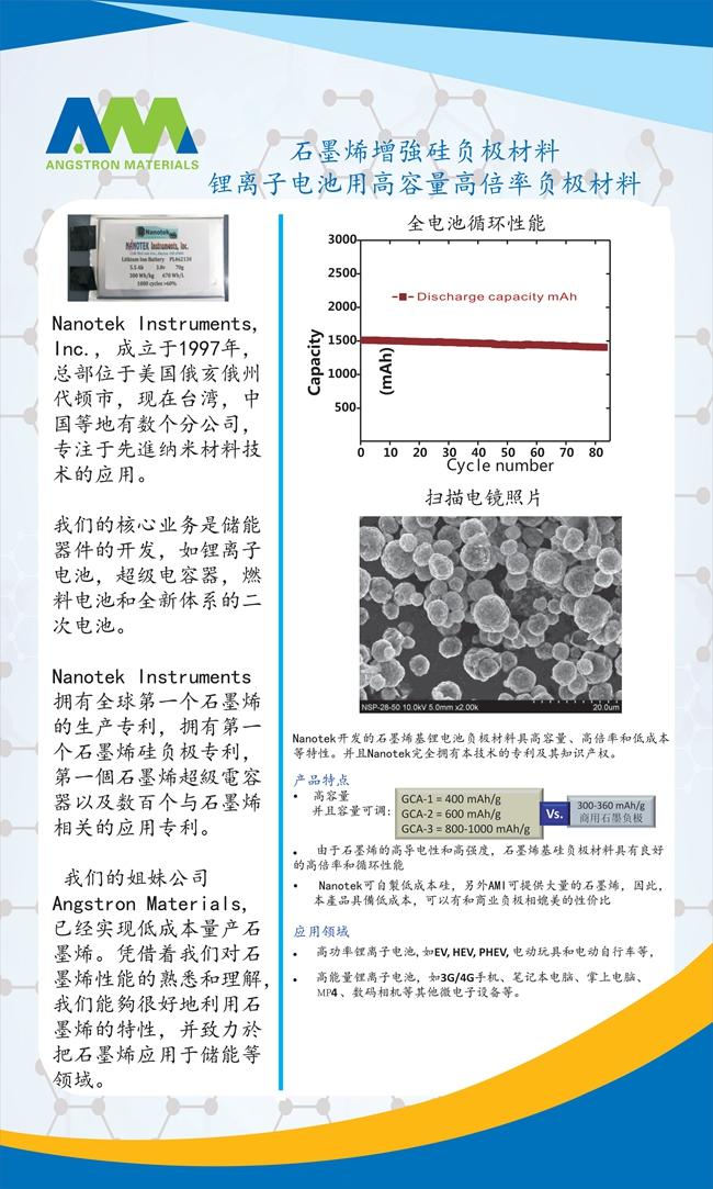 石墨烯增强硅负极材料锂离子电池用高容量高倍率负极
