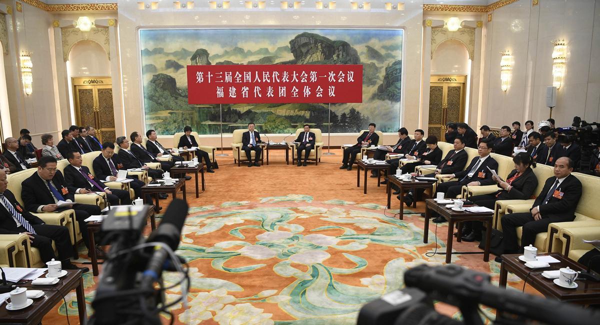 福建代表团全体会议向媒体开放