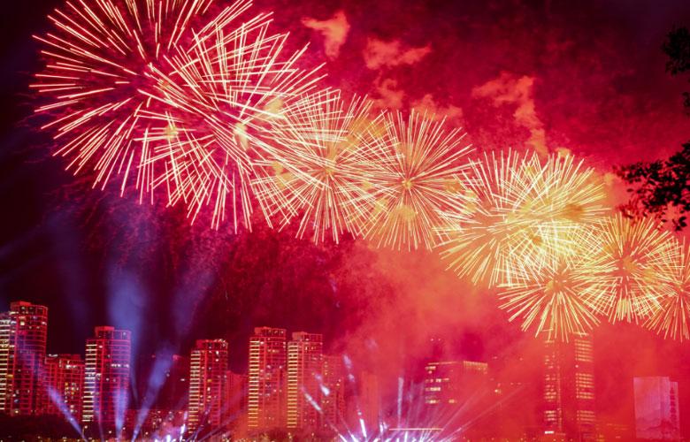福州:漫天煙花喜迎新中國成立70周年