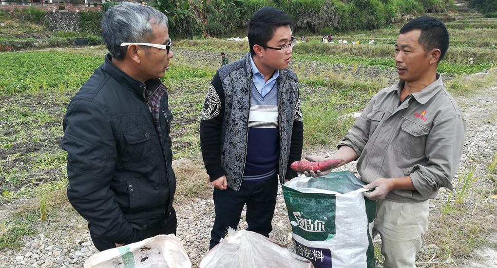 龍岩市湖洋鎮幹部袁輝亮(中)實地了解挂鉤幫扶貧困戶種植情況。