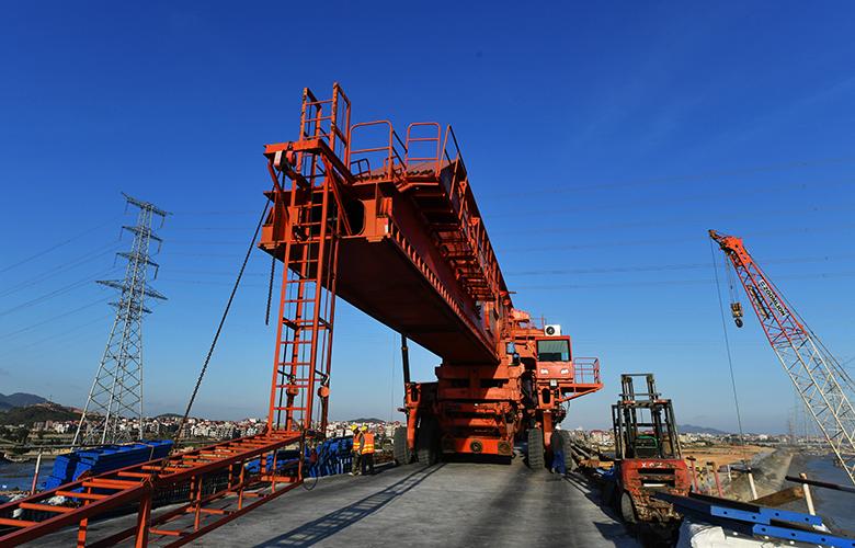 新建福廈鐵路湄洲灣跨海大橋施工進展順利